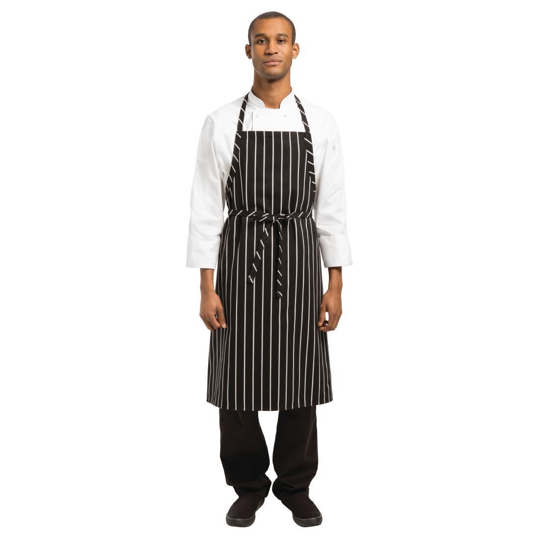 Tablier à bavette tissé Chef Works Premium rayures noires et blanches