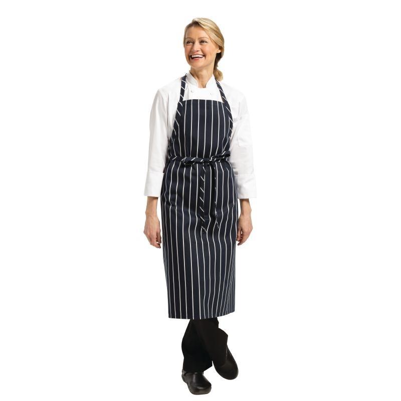 Tablier à bavette tissé Chef Works Premium rayures bleue marine et blanches