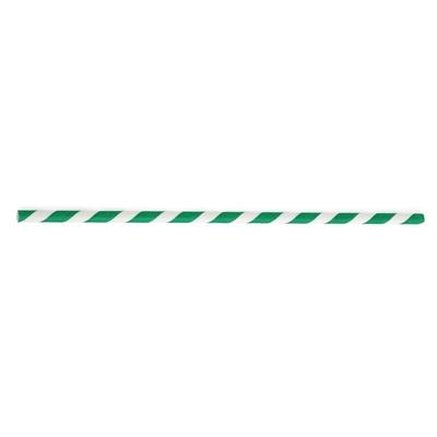 Pailles en papier à rayures vertes et blanches par 500