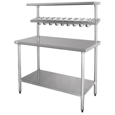 Grande table de préparation inox avec étagères support bacs GN 1800mm