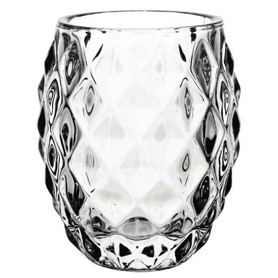 Photophore en verre transparent diamant 75mm par 6