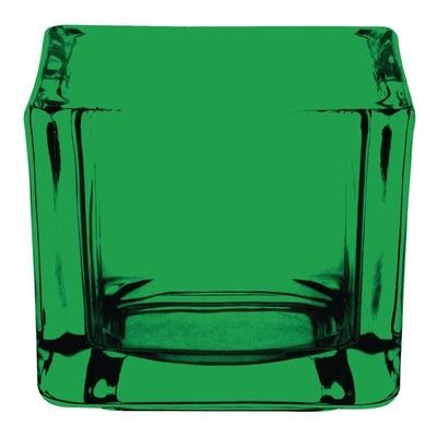Photophore carré en verre teinté vert lot de 6