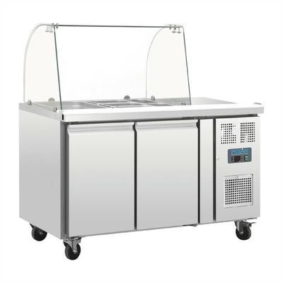 Comptoir de préparation réfrigéré GN avec pare-haleine 2 portes
