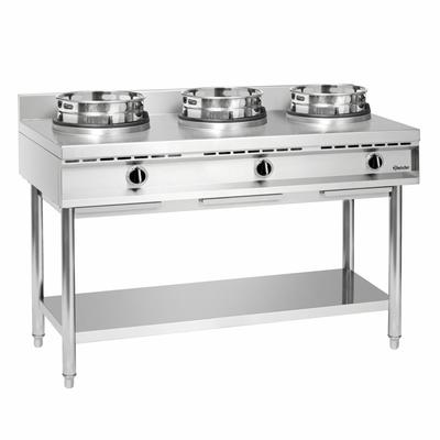 Cuisinière à wok 3 brûleurs 1500x600x960(h)mm