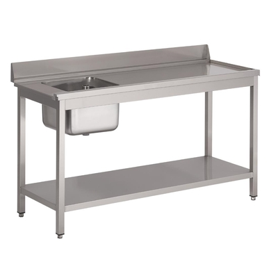 Table d'entrée lave-vaisselle inox avec bac à gauche dosseret et tablette inférieure Gastro M 850x1000x700mm