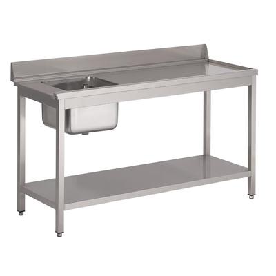 Table d'entrée lave-vaisselle inox avec bac à gauche dosseret et tablette inférieure Gastro M 850x1400x700mm
