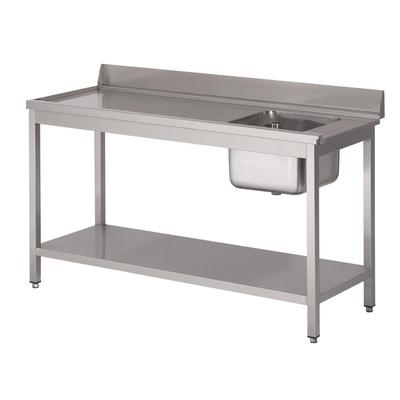 Table d'entrée lave-vaisselle inox avec bac à droite dosseret et tablette inférieure Gastro M 850x1400x700mm