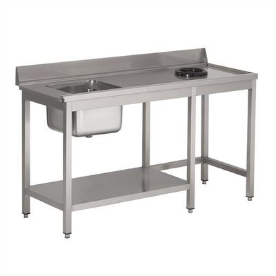 Table d'entrée lave-vaisselle inox avec bac à gauche TVO dosseret et tablette inférieure Gastro M 850x1400x700mm