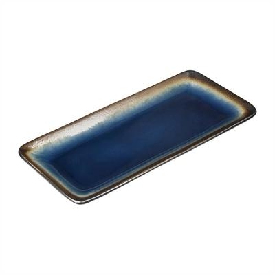 Assiettes à tapas rectangulaires Nomi bleues 245mm par 6