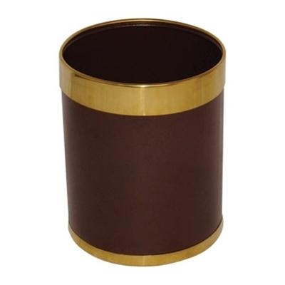 Corbeille à papier argenté ou doré  Marron et bagues dorées.