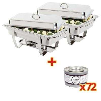OFFRE SPÉCIALE Set de 2 Chafing dish Milan avec 72 capsules de gel combustible
