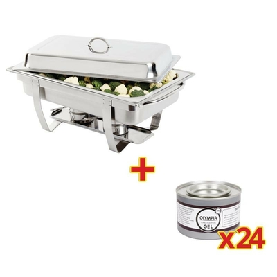 Ensemble Chafing dish Milan + 24 gel combustible