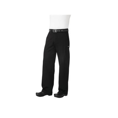 Pantalon de cuisinier noir unisexe Professionnel chevrons