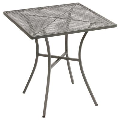 Table bistro carrée en acier ajouré grise 700mm