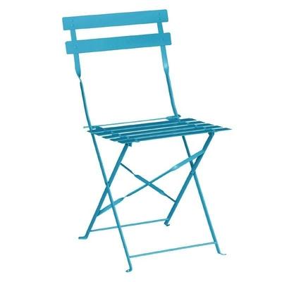 Chaises de terrasse en acier bleu turquoise par 2