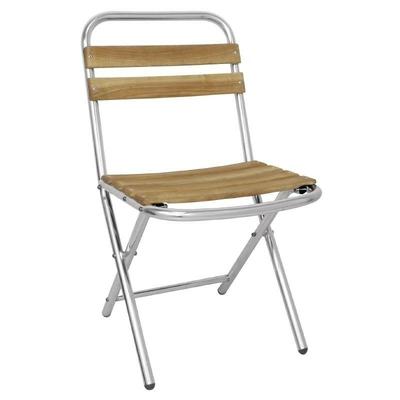 Chaise pliante en aluminium et bois par 4