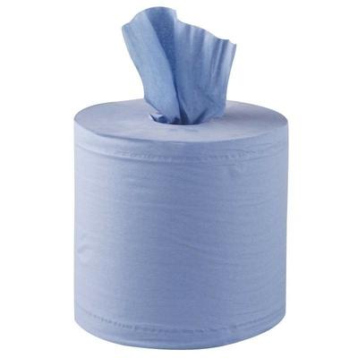 Essuie-mains 2 plis à dévidage central contact alimentaire bleu par 6