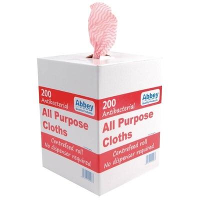 Chiffons tout usage antibactériens rouges par 200