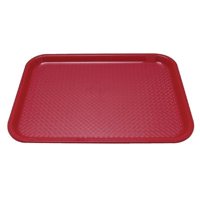 Plateau fast food en plastique Kristallon rouge 345 x 265mm