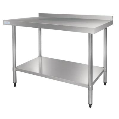 Table De Travail Inox Avec Étagère Inférieure Et Rebord 900(H)x 1800(L)x 700(P)mm