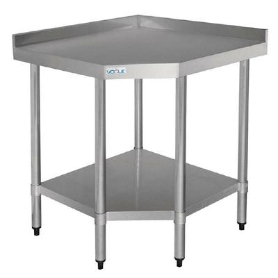 Table d'Angle Inox Avec Étagère Basse 700x800x900(h)mm