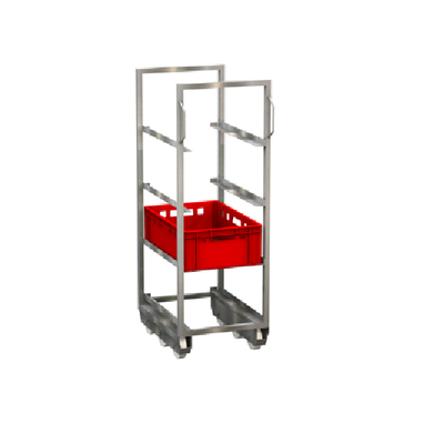 Chariot inox Dolly pour bac E2 460 x 620 x 1340 mm