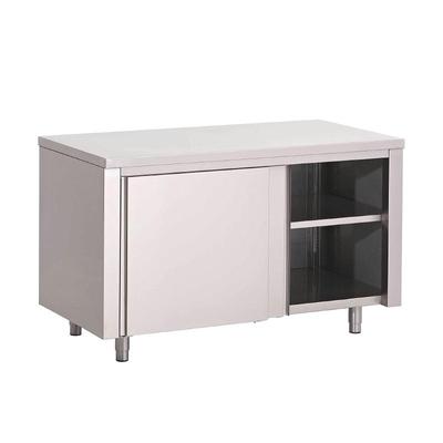 Table armoire inox avec portes coulissantes Gastro M700 de 1000 à 2000(L)  x 700(P) x 850(H) mm