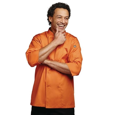 Veste de cuisinier unisexe orange manches 3/4