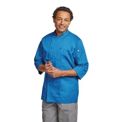 Veste de cuisinier manches 3/4 bleue