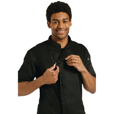 Veste de boucher homme Springfield Zipper manches courtes noire