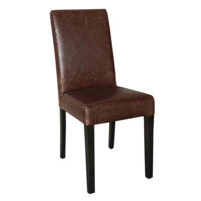 Chaise dossier haut en simili cuir marron patiné x2
