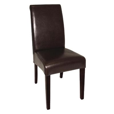 Chaises en simili cuir à dossier incurvé noires x2