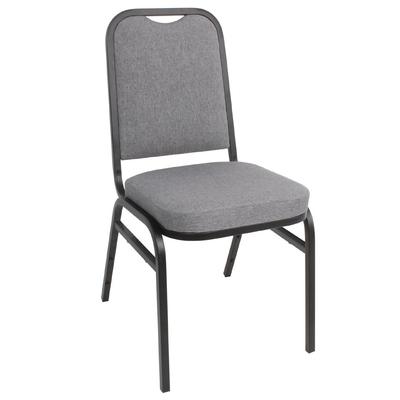 Chaise de banquet avec dossier carré et tissu gris lot de 4