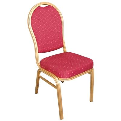 Chaises de banquet en aluminium à dossier arrondi rouges par 4