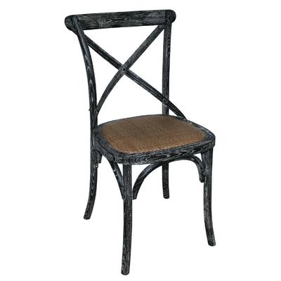 Chaises en bois patiné avec dossier croisé noires x2