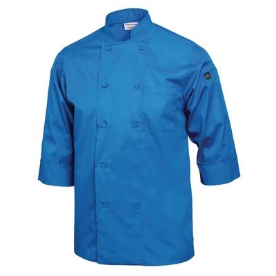 Veste de cuisinier manches 3/4 bleue T.S DERNIERE VESTE