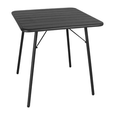 Table à lattes carrée en acier Bolero 700mm noire