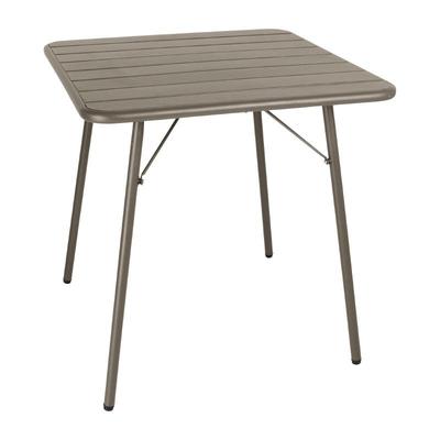 Table à lattes carrée en acier 700mm café