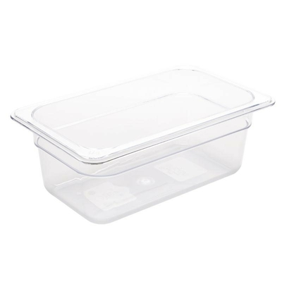 Bac Gastronorme en polycarbonate transparent un quart 100mm GN 1/4