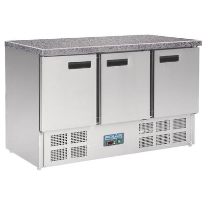 Table réfrigérée positive plan de travail en marbre Polar 3 portes 368L