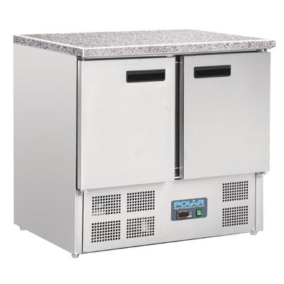 Table réfrigérée positive plan de travail en marbre Polar 2 portes 240L