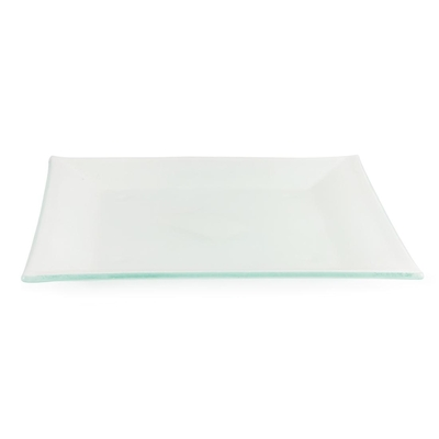 Assiette carrée en verre Olympia blanc glacé 265mm par 6