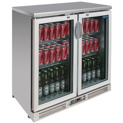 Arrière-bar inox 2 portes 180 bouteilles
