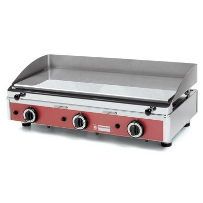 Plaque de cuisson lisse, chromée, gaz, 755 x 400 3 zones de chauffe
