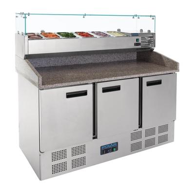 Comptoir de préparation pizza saladette réfrigéré 3 portes 368L