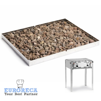 Grille à pierres de lave pour Plaque de cuisson gaz INOX  650x540 EURO717