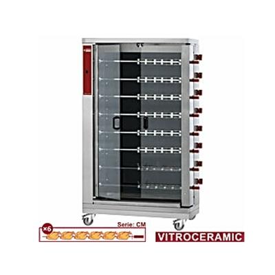Rôtissoire électrique vitrocéramique, 8 broches (48 poulets)