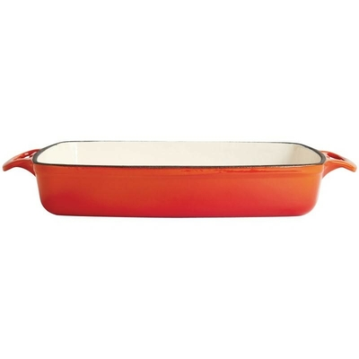 Plat en fonte rectangulaire orange 2,8L
