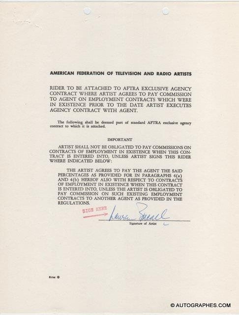 Lauren BACALL - Document avec signature autographe