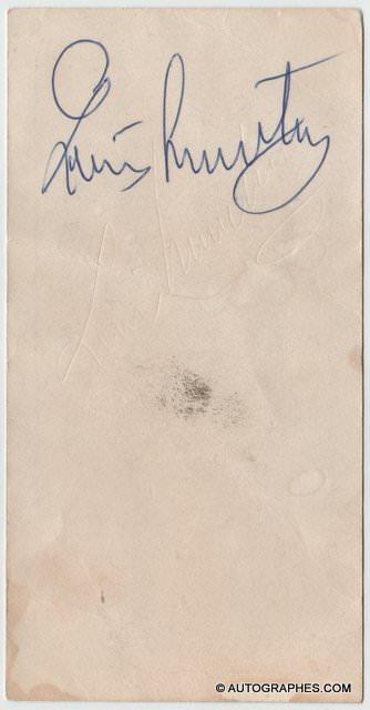 Louis ARMSTRONG - Signature autographe (au dos d\'un marque-place)